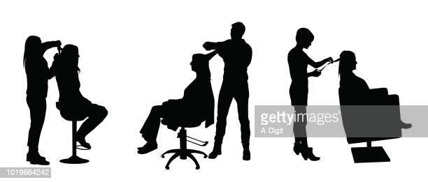 髪スタイリング キャリア - 美容師点のイラスト素材/クリップアート素材/マンガ素材/アイコン素材