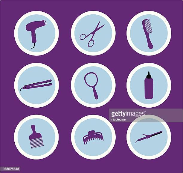 hair stylist icons - hair color stock illustrations, clip art, cartoons, & icons