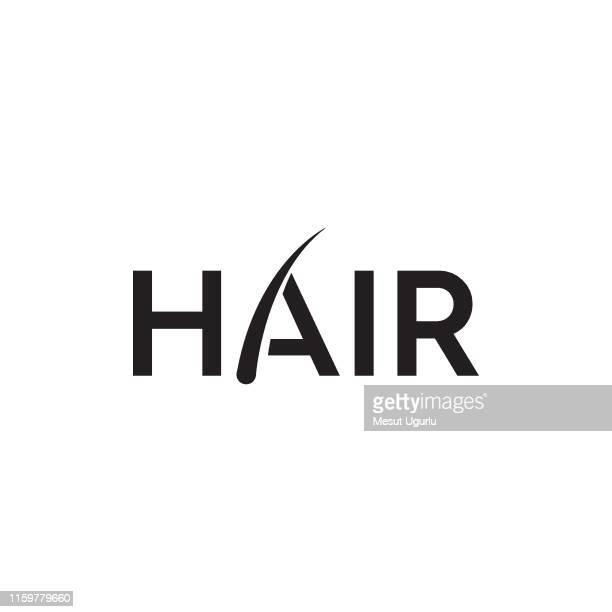 illustrazioni stock, clip art, cartoni animati e icone di tendenza di logo trapianto di capelli - capelli o peli