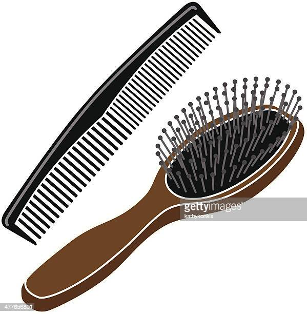 hairbrush and comb in color - human hair stock illustrations