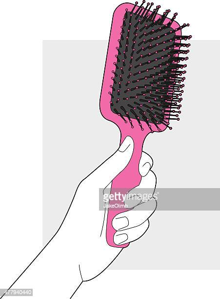 hairbrush line art - human hair stock illustrations