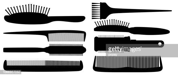hairbrush silhouette - hairbrush stock illustrations