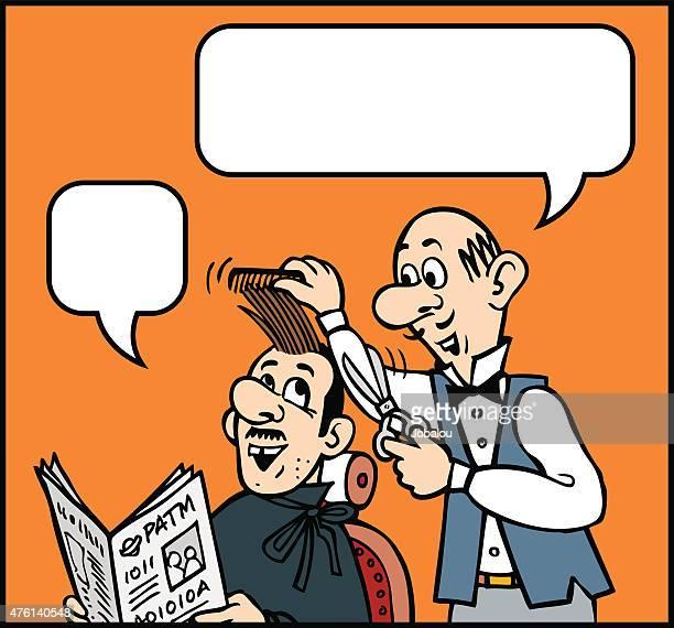 illustrations, cliparts, dessins animés et icônes de coupe dessin animé - coiffeur humour