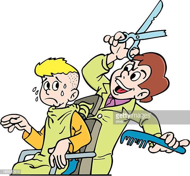 illustrations, cliparts, dessins animés et icônes de coupe de cheveux - coiffeur humour