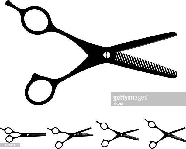 illustrations, cliparts, dessins animés et icônes de ciseaux de coiffeur coupe - ciseaux de coiffeur