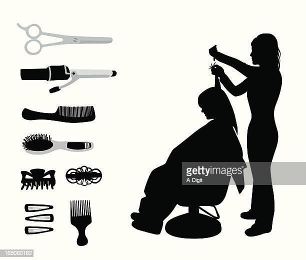 ilustrações de stock, clip art, desenhos animados e ícones de hairdressaccessories - cortar cabelo