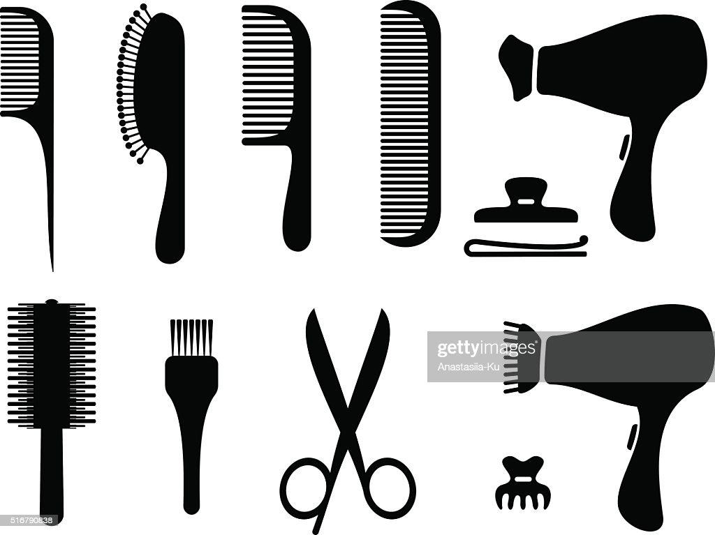 Hairdresser black icons vector. Hairdressers professional tools.