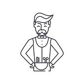 Hairdresser line icon concept. Hairdresser vector linear illustration, symbol, sign