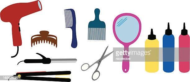 hairdresser set - hand mirror stock illustrations