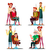 Hairdresser With Client Set Vector. Boy, Teen, Woman, Old Man. Professional Fashion Stilist. Service. Isolated Flat Cartoon Illustration