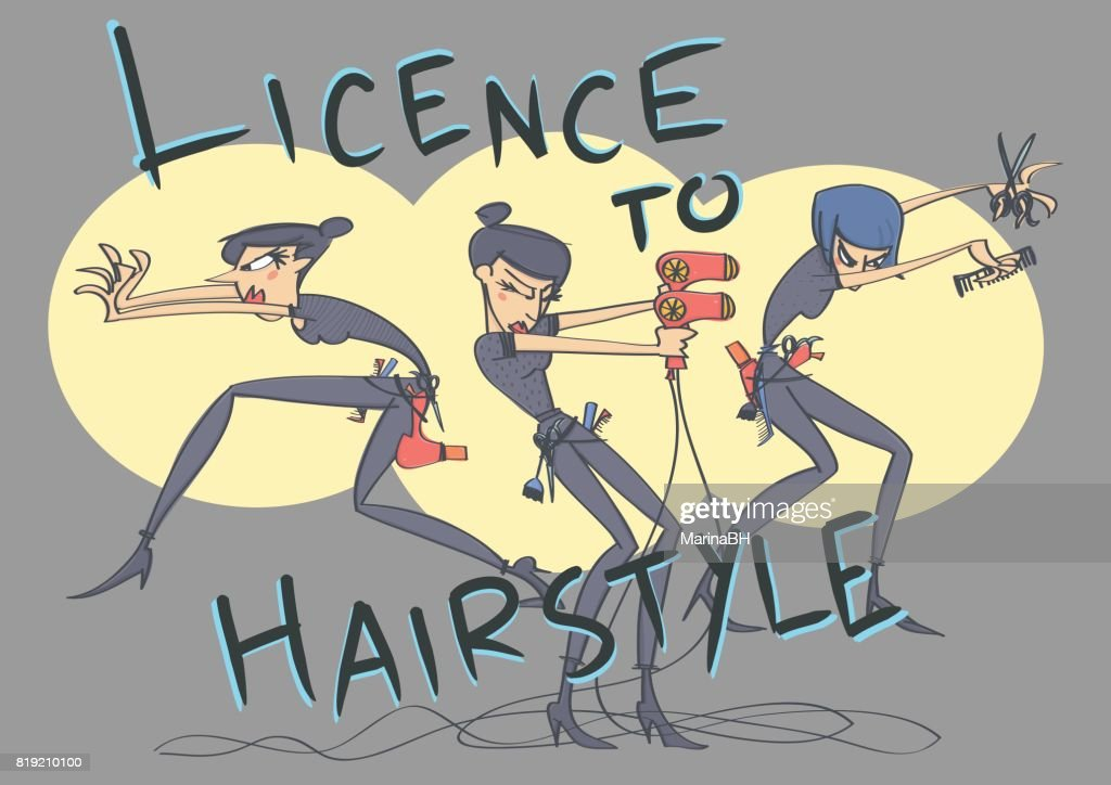 Hairdressers in spy movie style