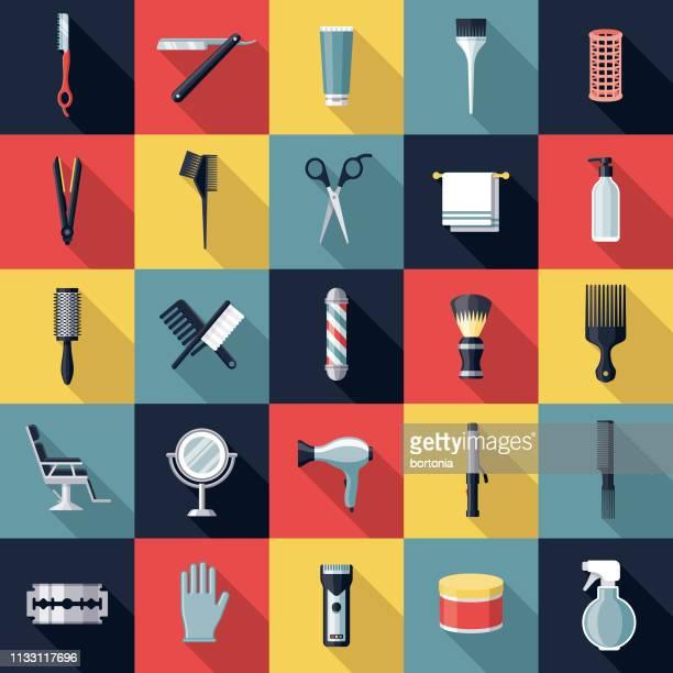 illustrazioni stock, clip art, cartoni animati e icone di tendenza di hairdressing icon set - parrucchiere