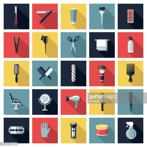 illustrations, cliparts, dessins animés et icônes de ensemble d'icônes de coiffure - ciseaux de coiffeur
