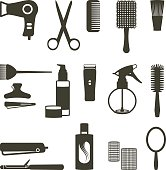 Hairdressing related objects silhouette set