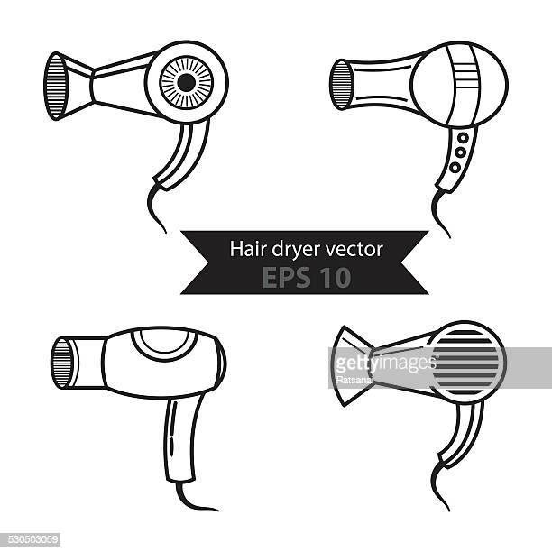 hairdryer - hair dryer stock illustrations, clip art, cartoons, & icons
