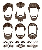 Hairstyle and beard hipster fashion, Barbershop Emblems set vector illustrations