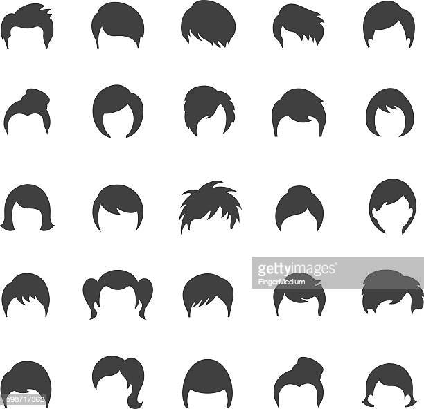 hairstyle icon set - hairstyle stock illustrations