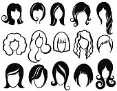 Hairstyle silhouette.Woman,girl,female hair.Beauty Vector wig symbols