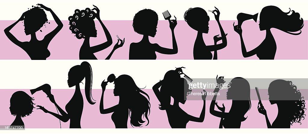 Hairstyling Girls : stock illustration