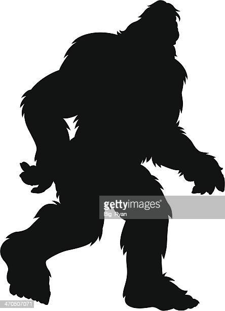 hairy bigfoot silhouette - bigfoot stock illustrations
