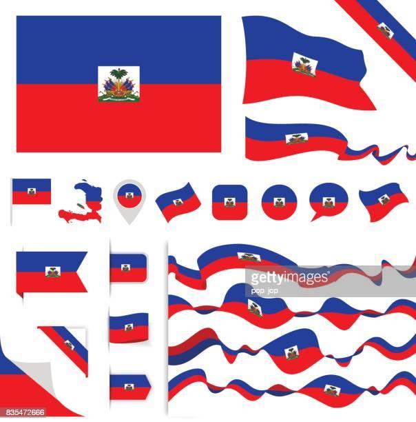 haiti-flag festgelegt - haiti stock-grafiken, -clipart, -cartoons und -symbole