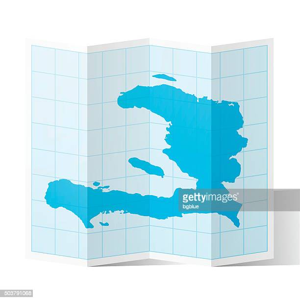 Haiti Map folded, isolated on white Background