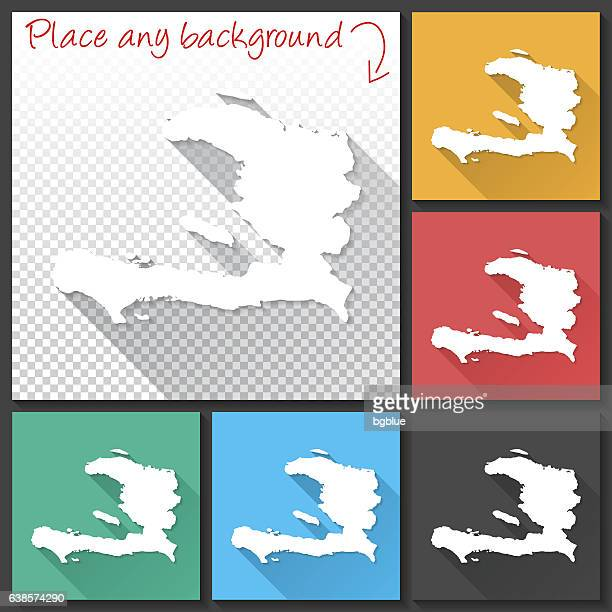 Haiti Map for design, Long Shadow, Flat Design