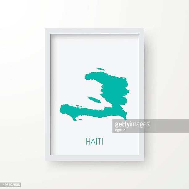 Haiti Map in Frame on White Background