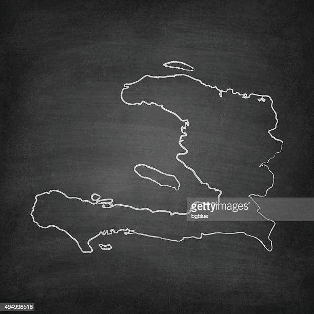 Haiti Map on Blackboard - Chalkboard
