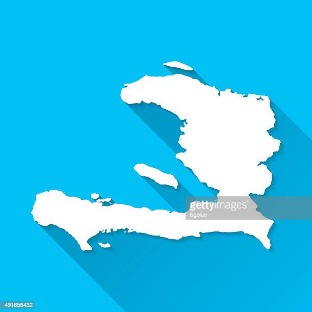 Haiti Map on Blue Background, Long Shadow, Flat Design