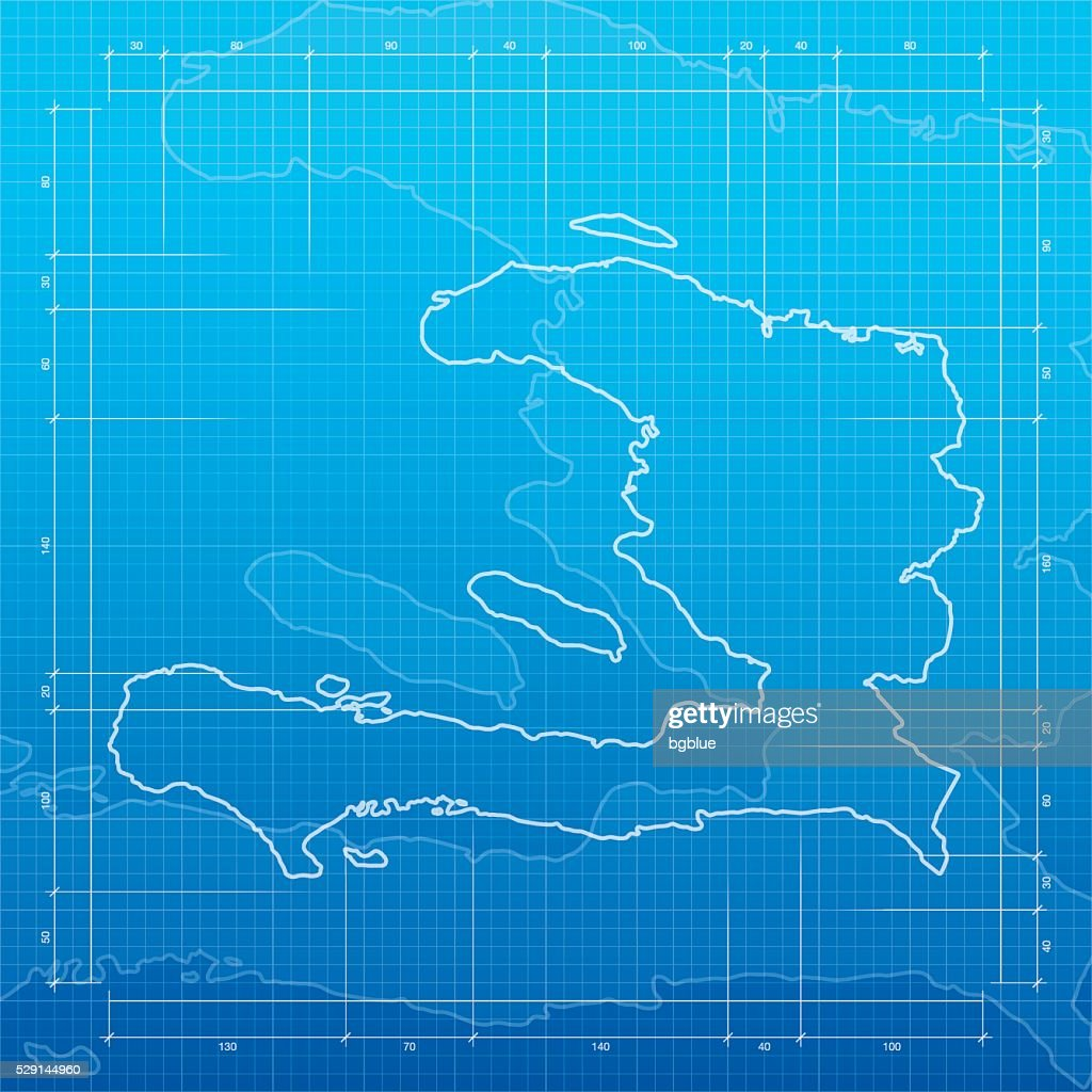 Haiti map on blueprint background vector art getty images haiti map on blueprint background vector art malvernweather Images
