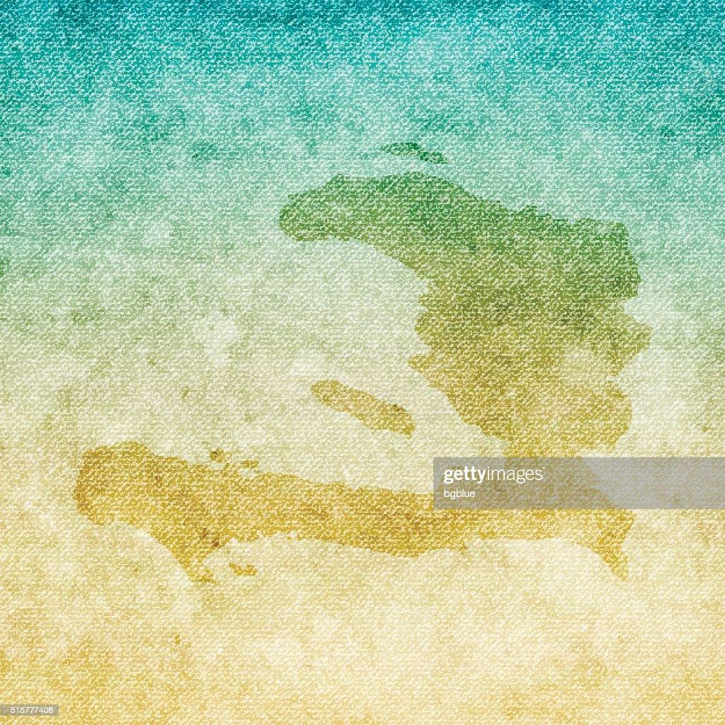 Haiti Map on grunge Canvas Background