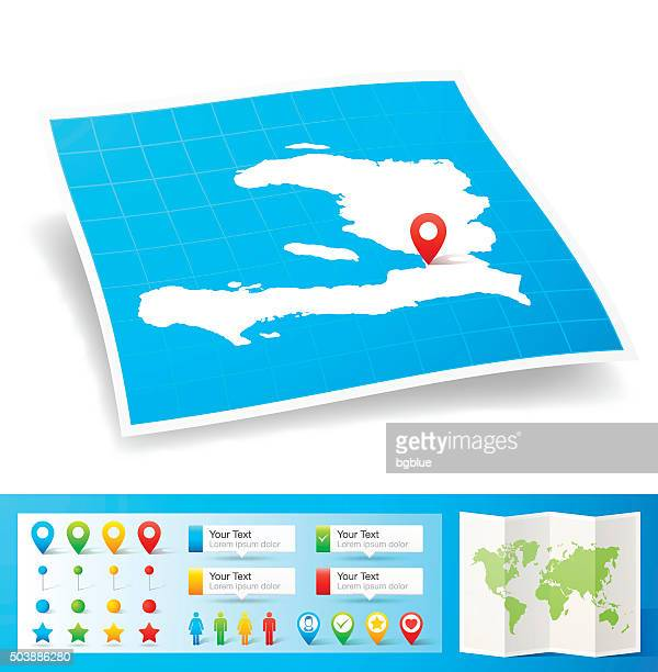 Haiti Map with location pins isolated on white Background