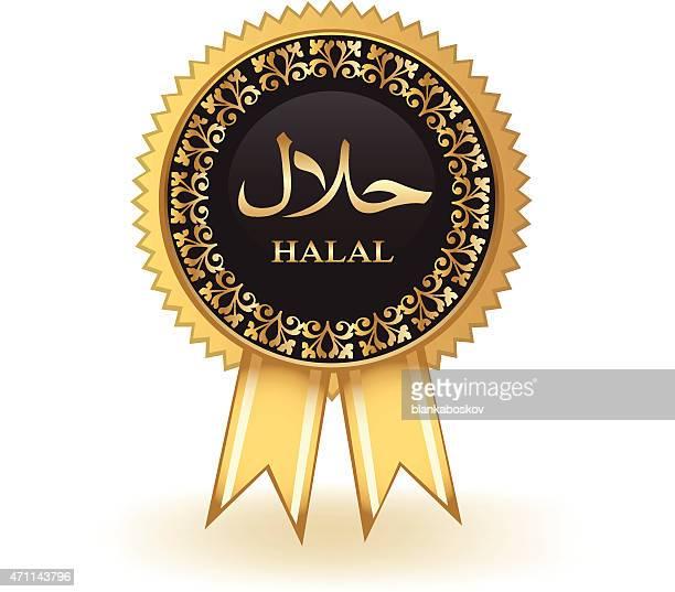 halal badge - arabic script stock illustrations, clip art, cartoons, & icons