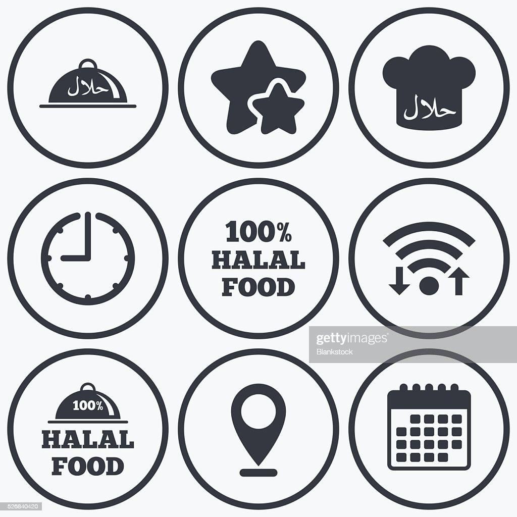Halal food icons. Natural meal symbol.