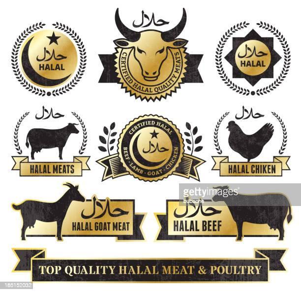 ilustraciones, imágenes clip art, dibujos animados e iconos de stock de halal de carne de res y aves golden grunge vector conjunto de iconos - pollo asado