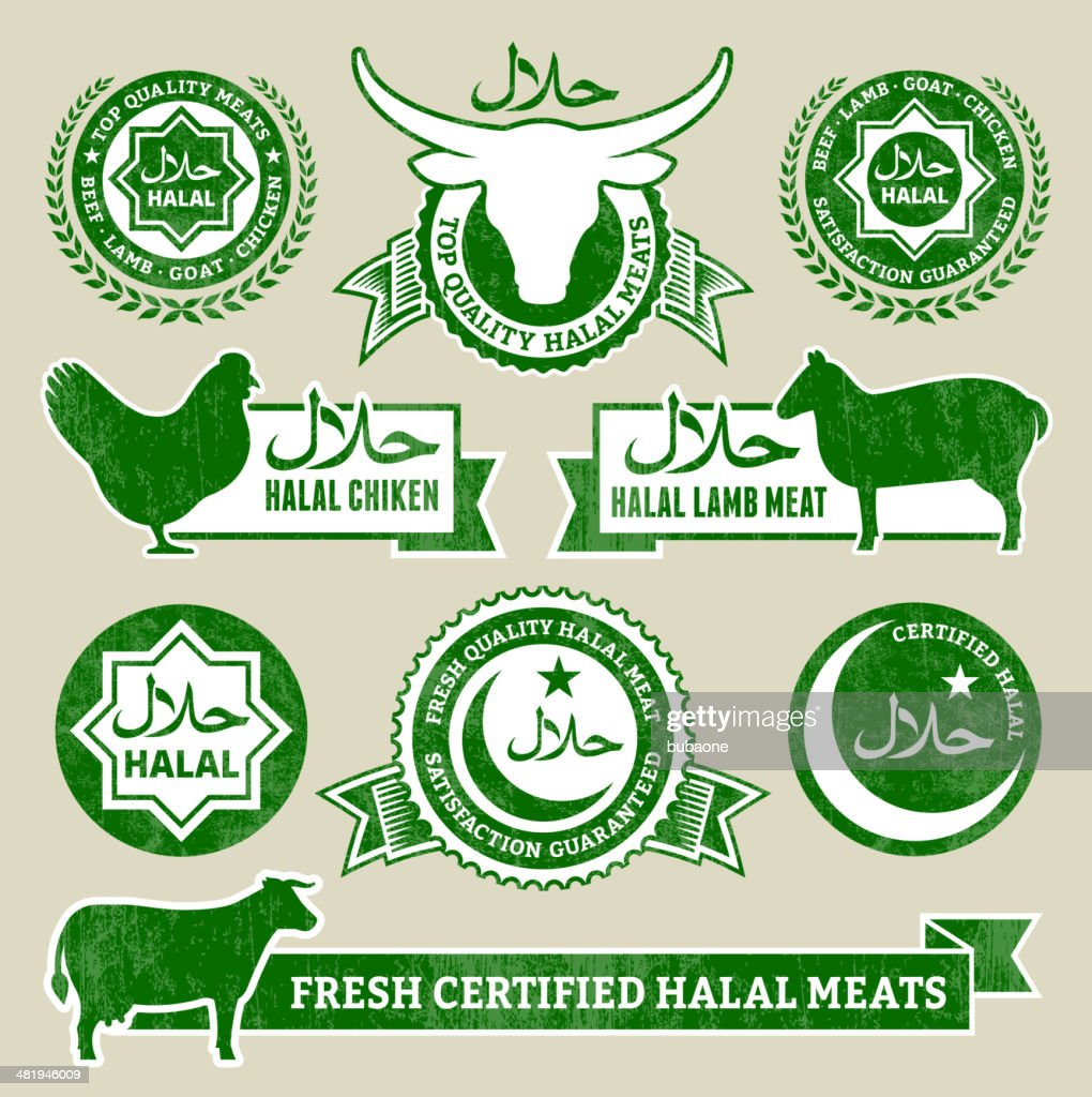 Halal Organic Meat And Poultry Grunge Vector Icon Set High