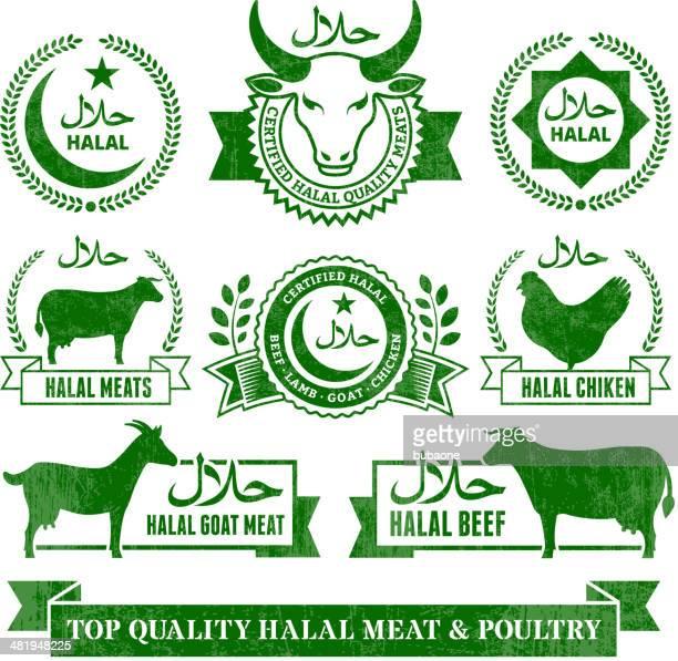 ilustraciones, imágenes clip art, dibujos animados e iconos de stock de comida halal carne orgánica y grunge vector conjunto de iconos de aves - matadero