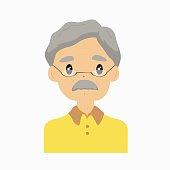 Half Body Grandfather Avatar Vector