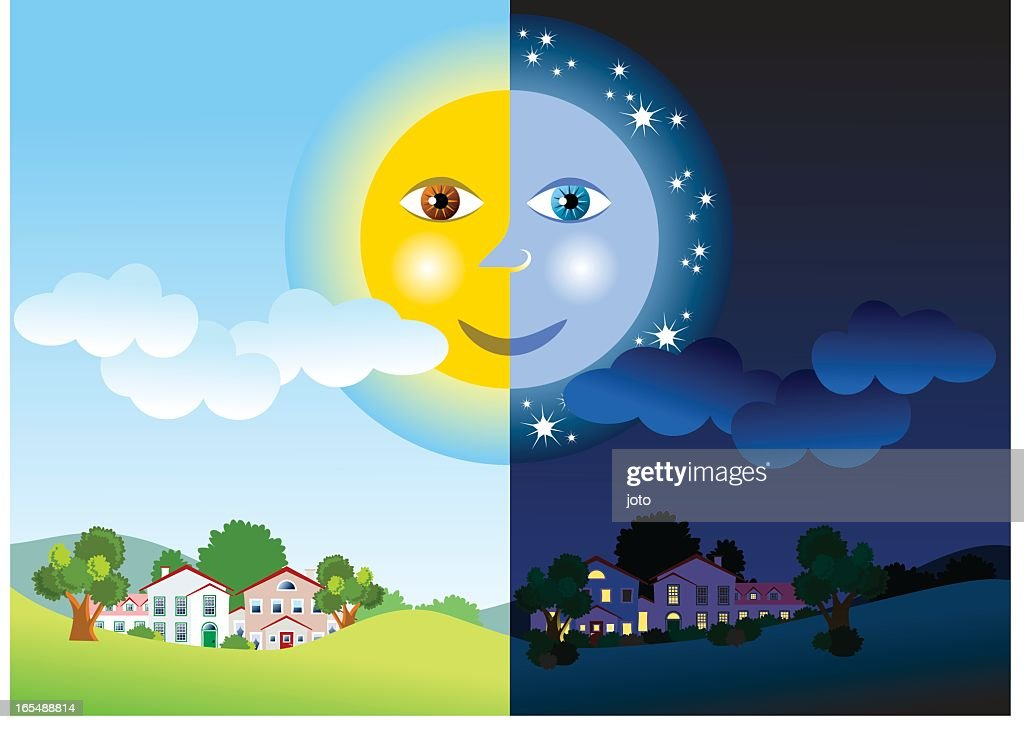 Half day and half night with the sun connected to the moon