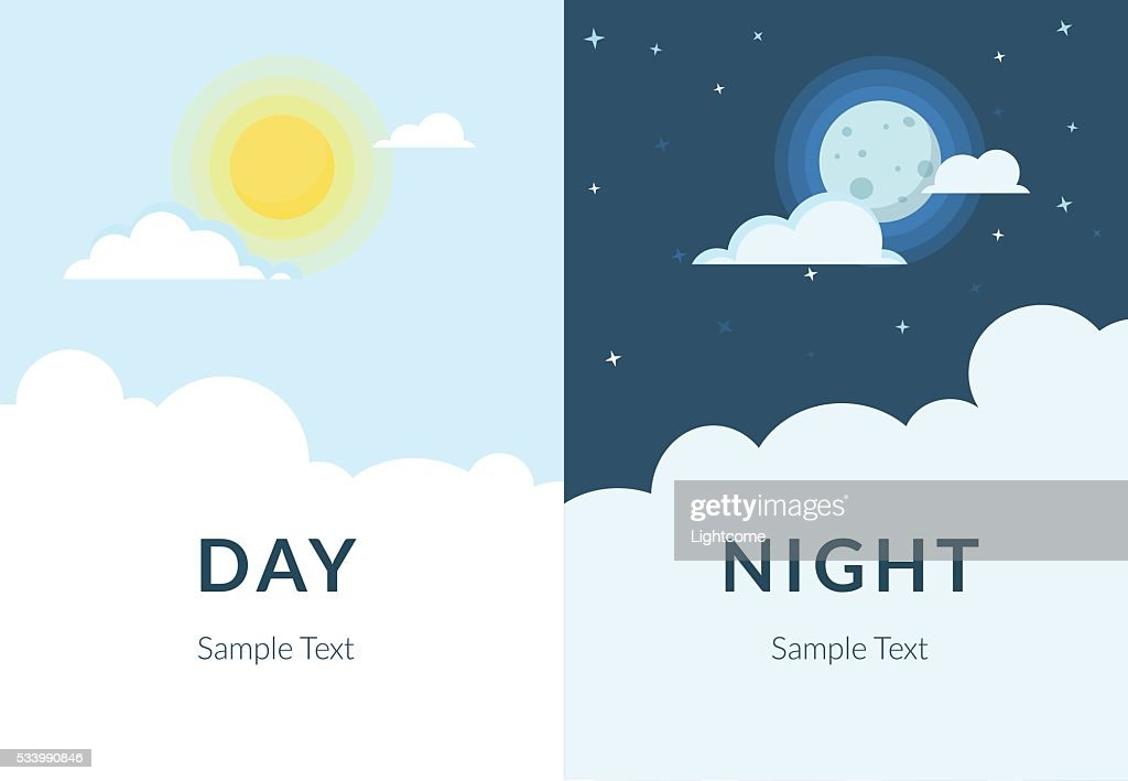 Half day night of sun and moon with clouds