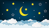 Half moon, stars and clouds on the dark night sky background. Paper art. Vector Illustration.