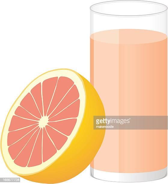 ilustraciones, imágenes clip art, dibujos animados e iconos de stock de mitad de pomelo rosado y un vaso de jugo de frutas - pomelo rosa