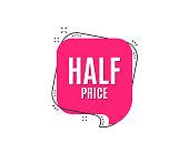Half Price. Special offer sale sign.