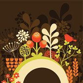Half round banner with spring nature.