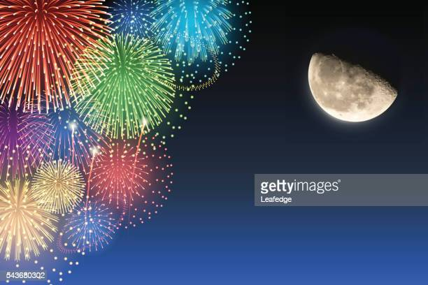 Half-moon and fireworks