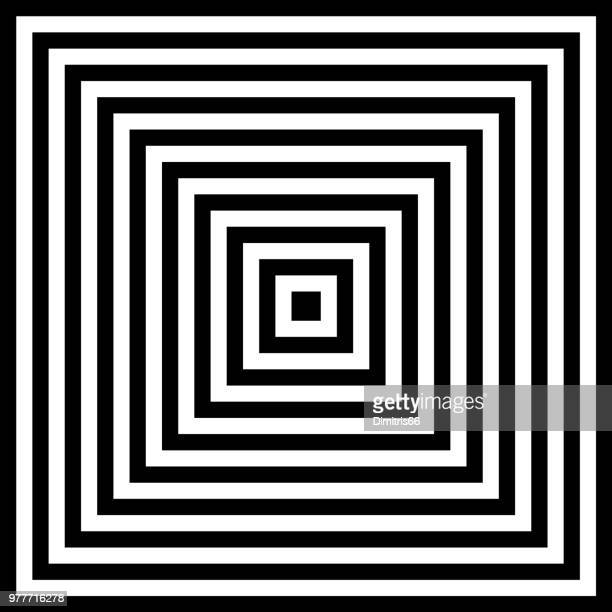 halftone abstract background of concentric black and white squares - optical illusion stock illustrations