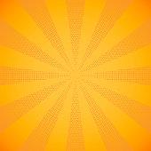 Halftone beam, yellow sun rays
