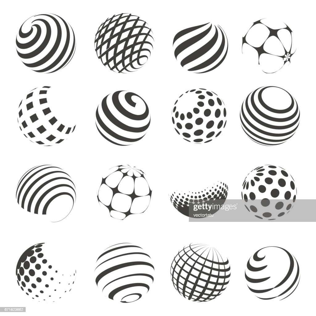 Halftone black and white sphere set