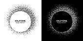 Halftone circle frame abstract dot logo emblem design element. Half tone circular icon collection. Original round border using halftone circle dots raster texture. Vector set.